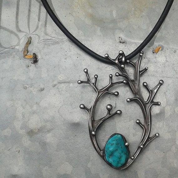 Handmade Turquoise Art Necklace on Leather Cord