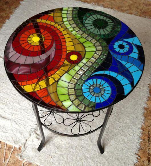 """Мебель ручной работы. Ярмарка Мастеров - ручная работа. Купить Столик из стекла, мозаика """"Закат на море"""". Handmade. Комбинированный"""