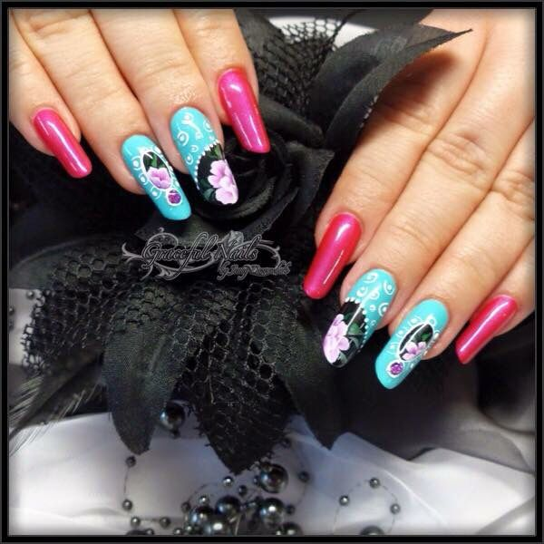 new style nails n gel mit fullcover pinselmalerei. Black Bedroom Furniture Sets. Home Design Ideas