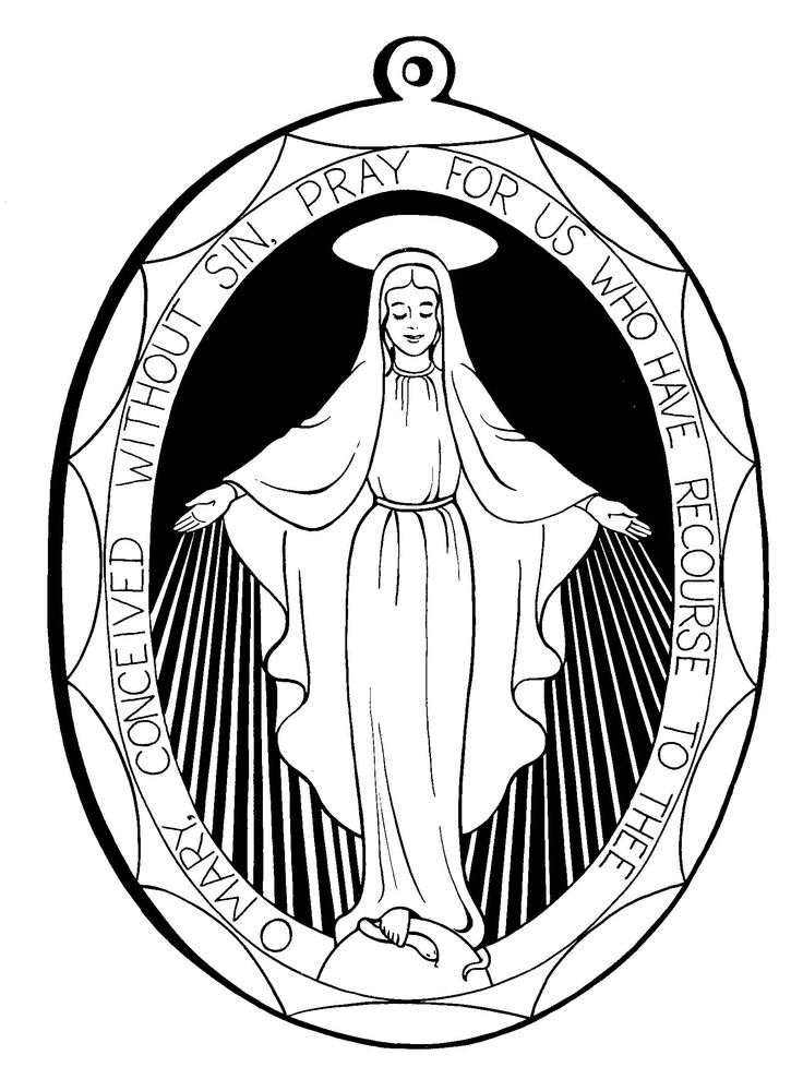 Miraculous Medal & other printable Virgin Mary coloring pages