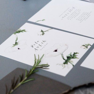 Love Prints Oryginalne Kwiatowe Zaproszenia Ślubne - Anemony