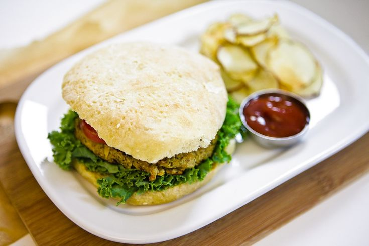 Savory Sage & Flower Burgers with Baked Potato Chips |
