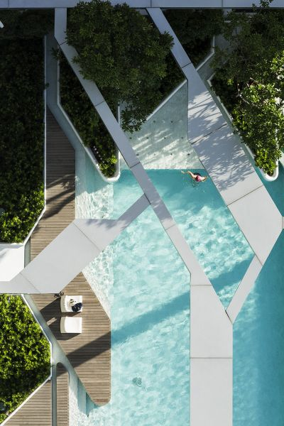 Amazing mixture of texture and geometry in TROP's Bangkok pool project.