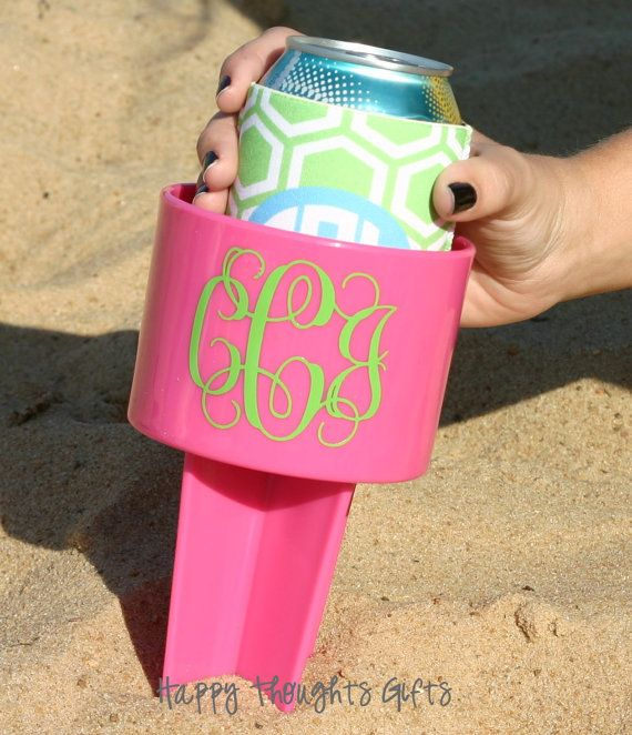 Monogrammed beach drink holder.