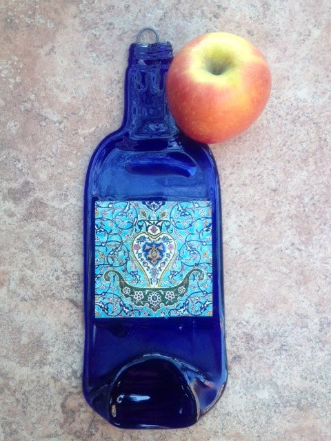 Mediterranean Persian Cobalt Blue Slumped Melted Flattened Flat Bottle Cheese Tray Spoon Rest Glass Eco Gift