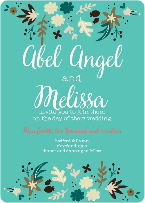 """The Fun Foliage <a class=""""crosslink"""" href=""""https://www.basicinvite.com/wedding/wedding-invitations.html"""" target=""""_self"""" alt=""""Custom Wedding Invitions"""" title=""""Custom Wedding Invitions"""">Wedding Invitation</a> sports fun, bold flowers that surround your very own text. Bright colors and cute shapes make for an invitation that will stand out above the crowd.</p><p>Here a..."""