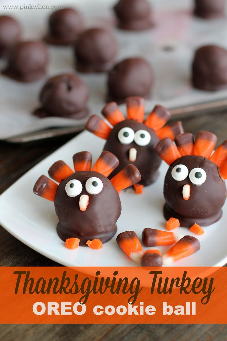 Make these super cute and easy OREO Turkey Cookie Balls for Thanksgiving- Thanksgiving Turkey Treat