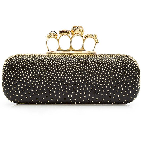 Alexander McQueen Brass Knuckles Clutch (67,600 THB) via Polyvore featuring bags, handbags, clutches, black, skull studded handbag, alexander mcqueen purse, knuckle duster clutches, skull purse и skull clutches