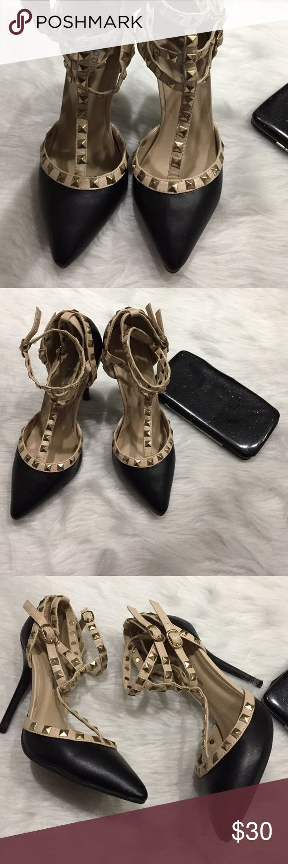 Studded pumps Moving sale! Everything must go. Accepting all reasonable offers. Valentino Rockstud look a like from Wild Diva. Excellent used condition. Three sets of rockstud straps. T-strap design. Size 8. Wild Diva Shoes Heels