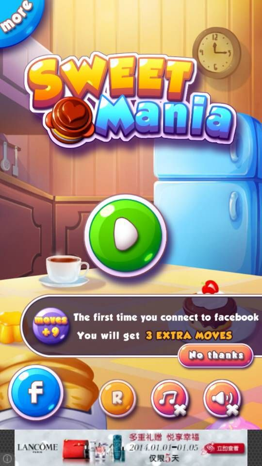 sweet mania title screen, facebook/social icons and play button