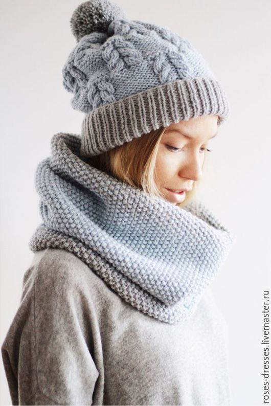 cozy seed stitch cowl and hat