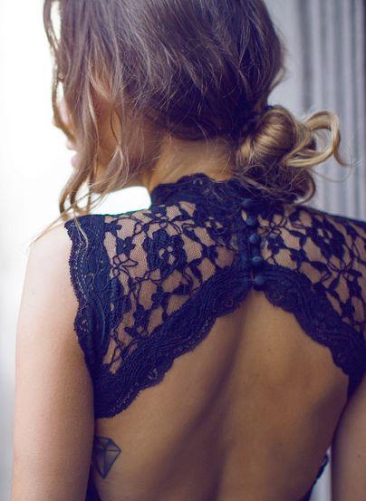 Black lace dress v back hairstyle