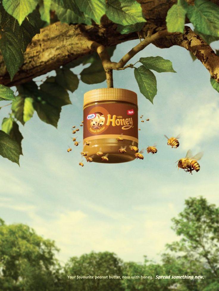"""벌꿀 함유를 강조한 """"Kraft"""" 광고^^    땅콩 버터에 벌꿀이 함유된 신제품을 홍보하는 모습입니다.  꿀벌들을 통해서 앙증맞게 연출한 점이 인상적이네요~"""