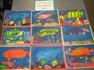 Great Barrier Reef paintings from Art with Mrs Baker
