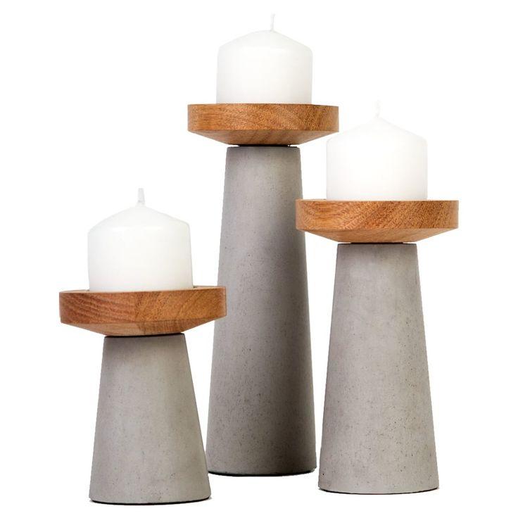Set of 3 Concrete and Wood Kasa Pillar Candle Holders- Tasmanian Oak | Urban Couture - Designer Homewares & Furniture Online