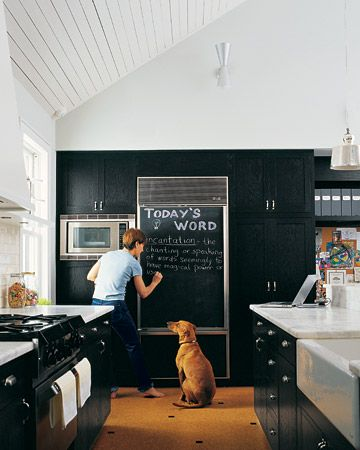 Chalkboard on refrigerator for daily messages.