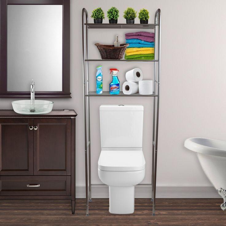 Hermosa Home 3-stufiges Stahlregal mit Platzsparfunktion für die Toilette – Satin Nickel, Silber