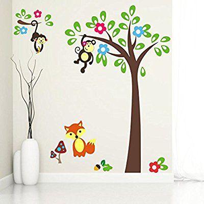 Buy Hanging Monkey on Tree Wall Sticker | Wall Art - SRG India   #wallart #art #design #homedecor #pics #monkey #kids #sticker