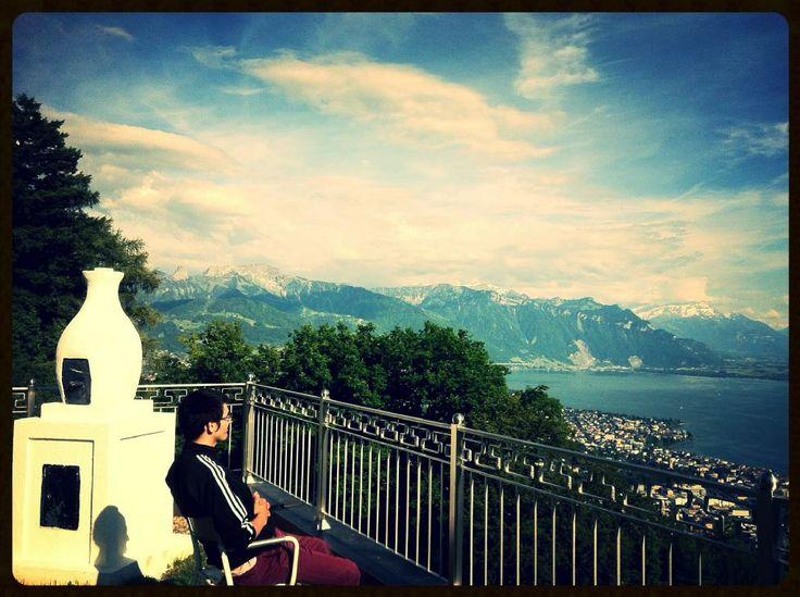 View over lake Geneva in Swiss Alps at Rabten Choeling - Centre for Higher Tibetan Studies, Mont Pelerin.