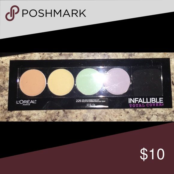 Loreal Infallible total cover color correction kit Brand new, never used or opened. Infallible Total Cover Color Correcting Kit.    Shades: Peach: disguises dark circles Yellow: combats discolorations Green: neutralizes redness Purple: brightens dullness  Benefits: An all-in-one palette that corrects discoloration Neutralize dark circles, redness, and dullness Works across skin tones L'Oreal Makeup