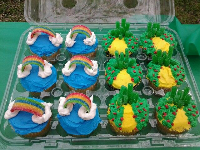 """Wizard of Oz party cupcakes I made. """"Somewhere over the Rainbow"""" and emerald city. $1 walmart cupcake carriers."""