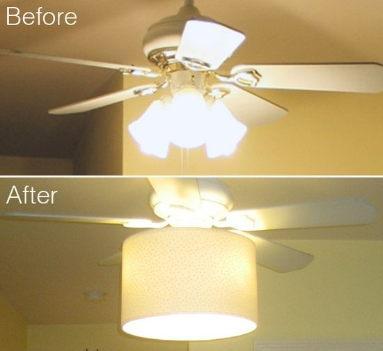 diy ceiling fan makeover, drum shade, tutorial - shows how to attach to piece around the centre pull chain.
