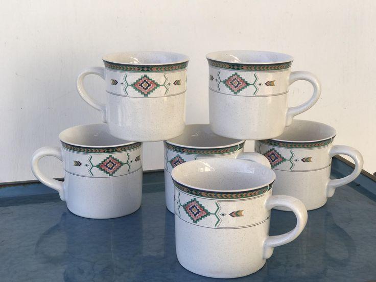 Adirondack by Studio Nova Mug Set of 6 | Vintage Studio Nova Southwestern Coffee Cups | Tribal Pattern Coffee Tea Mugs / Jungalow Boho Mugs by 626Vintage on Etsy