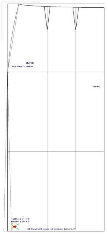 Document gratuit pour tester les transformation de la jupe de base - devant.