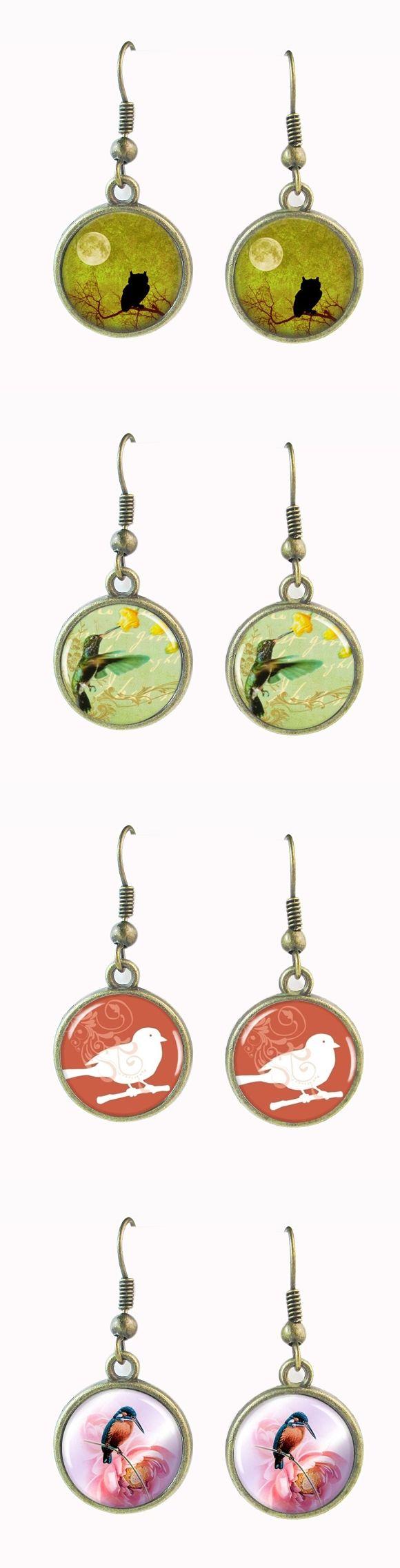 bird fish hook earrings Under a Full Moon owl shadow earrings bird art earring animal fishhook bronze ear pendants jewelry