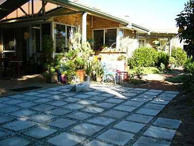 We Built An Architectural Slab Patio In Our Backyard With Crushed Granite  Between Pavers.