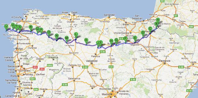 A map of camino de santiago a st jean pied de port s santiago de compostella v finisterre - St jean pied de port to santiago ...