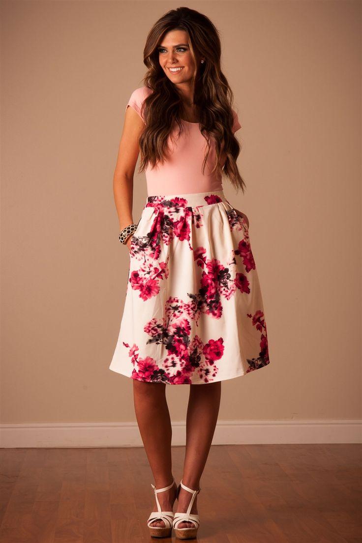 Pink Floral Skirt by Mikarose | Trendy Modest Dresses | Mikarose Spring 2014 Collection