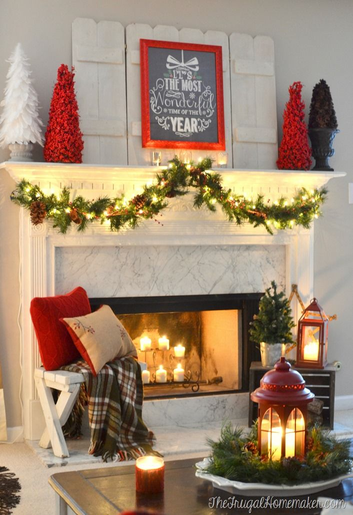 It's the most wonderful time of the year Christmas mantel || The Frugal Homemaker