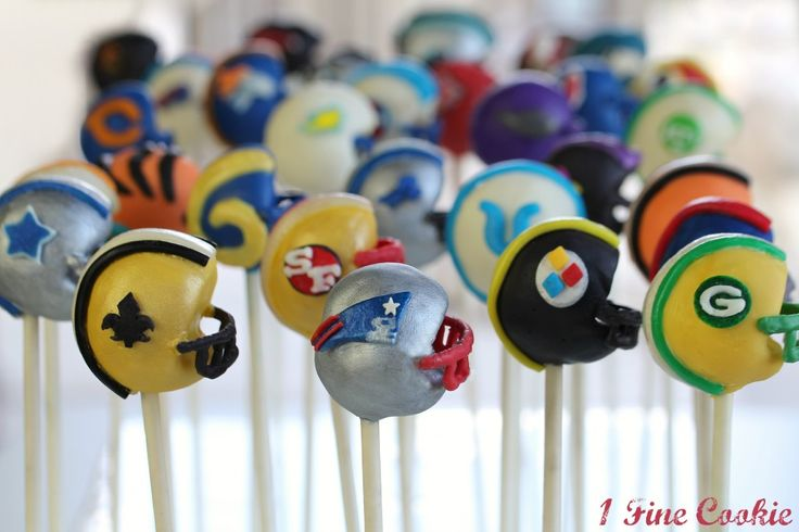 Football helmet cake pops. One for every team. Instructions and photos for each.