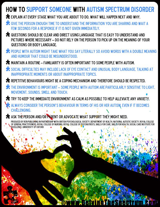 Autsim Awareness 2013 Campaign by www.DefyingTheSpectrum.com How to Support Someone With Autism Spectrum Disorder Infographic