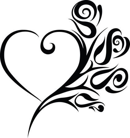 Free Clipart Of A Heart Wedding Frame With Black And White Tribal Small Heart Tattoos Hip Tattoos For Girls Tattoos