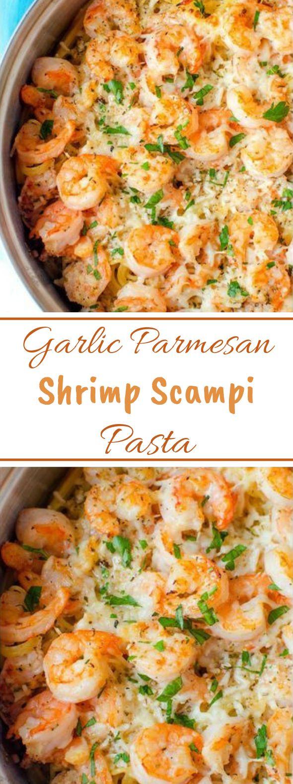 Garlic Parmesan Shrimp Scampi Pasta #quickrecipe #dinner