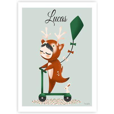 Affiche personnalisable Les adorables costumés Le petit cerf (2 tailles)