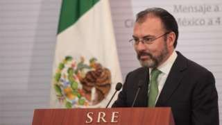 Image copyright                  EPA                                                                          Image caption                                      Luis Videgaray, sacked over Donald Trump's visit to Mexico, is back as foreign minister                                Mexican President Enrique Pena Nieto has named Luis Videgaray as his new foreig