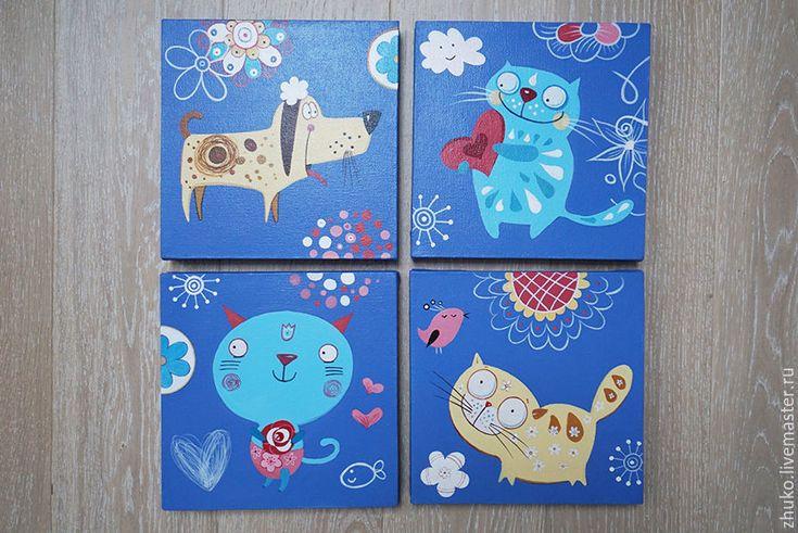 Сегодня я расскажу и покажу как просто и стильно оформить детскую для своего ребенка. Для примера я буду делать модульное панно из 4 частей с несложным рисунком (рабочее название «Котики»). Материалы, которые потребуются: 1. Темперные и акриловые краски (можно что-то одно). 2. Калька — 4 листа (а 4). 3. Карандаши 4b и 2b. 3. Кисти синтетика №2, 3, 6, 15. 4.