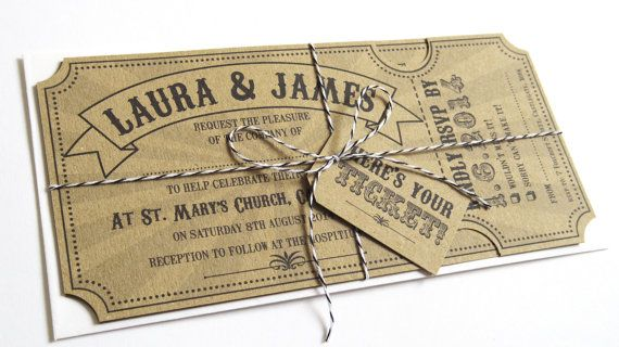 Circus Ticket Wedding Invitation with RSVP card- Fun Fair Carnival Eco Recyced on Etsy, $4.99 AUD