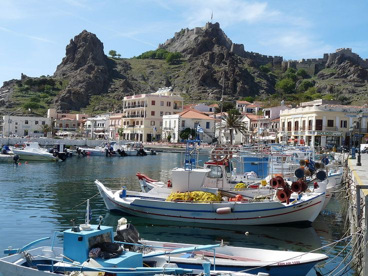 Myrina, the main town of Lemnos backed by it medieval fortress
