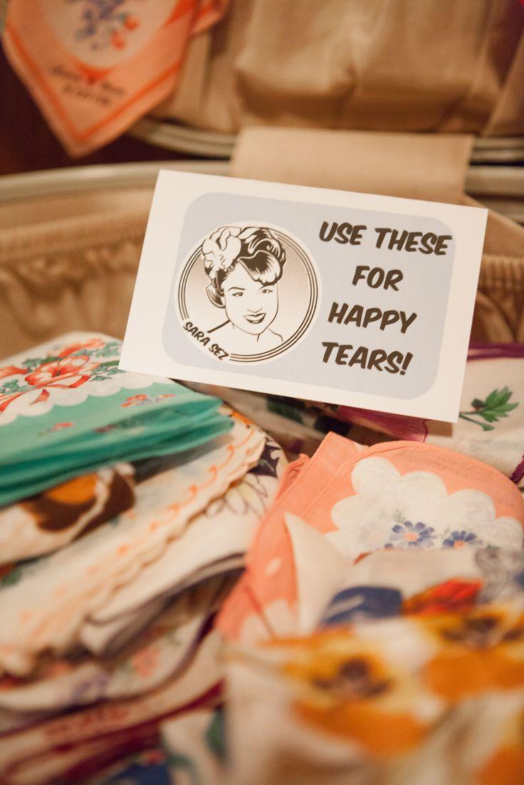 Vintage handkerchiefs at ceremony
