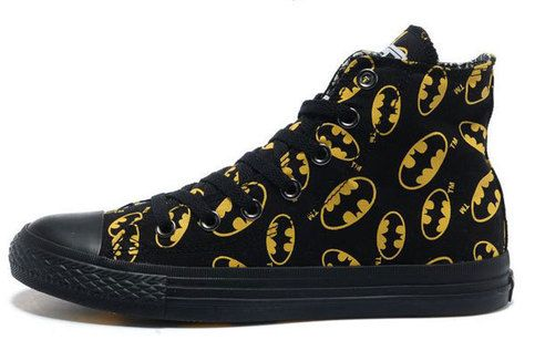 All black Chuck Taylor converse.  Well, not really ALL black, because they're covered in little yellow Batman symbols.