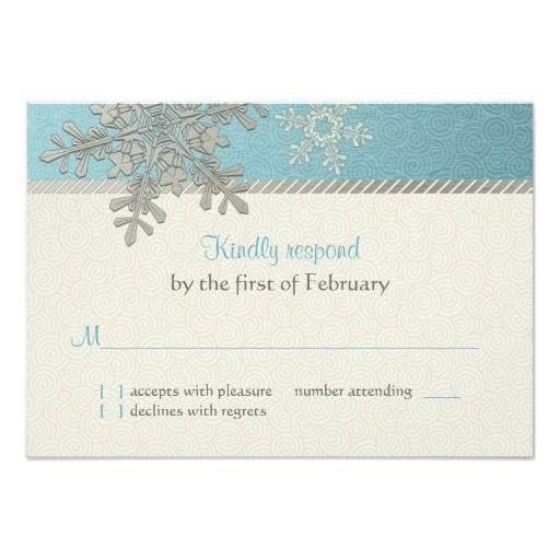 "Silver Blue Snowflake Winter Wedding Reply Card 3.5"" X 5"" Invitation Card"