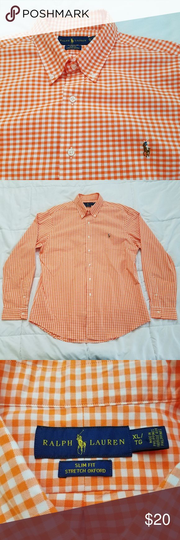 "Ralph Lauren Slim Fit Shirt Men's XL Orange Checks Good Used Condition  Ralph Lauren Dress Shirt Orange and White Checks Size: XL Slim Fit  Measurements are taken laid flat:  Pit to Pit - 23"" Shoulder to Shoulder - 20"" Shoulder to Cuff - 26"" Length - 30""  Shirt comes from a smoke and pet free home. Ralph Lauren Shirts Dress Shirts"