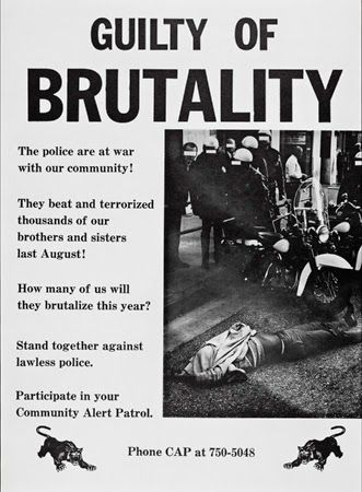 Community Alert Patrol Poster, 1966. Los Angeles, CA. Photographer: Charles Brittin.      Huey Newton and Bobby Seale were influenced by groups such as Community Alert Patrol (CAP) in Los Angeles. CAP members conducted patrols of police in black communities with cameras, law books, and tape recorders to document police activities. They wanted to prevent and document police brutality in black communities.