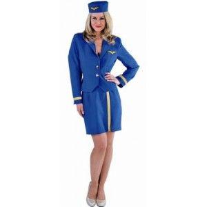Déguisement Hôtesse de l'air Bleu Cobalt Deluxe femme, Magic by Freddy's, fêtes.