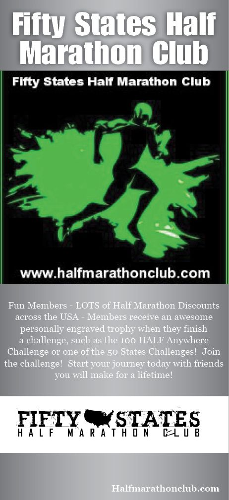 Fifty 50 States HALF Marathon Club - Lots of discounts to your half marathons along your journey, fun members and friends you will make for a lifetime, personally engraved trophy when you finish a challenge, Multiple challenges for a fun variety to choose from, www.50stateshalfmarathonclub.com #halfmarathon #halfmarathons #running