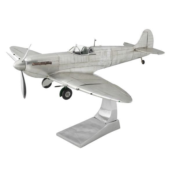 This amazing model is hand made by moulding aluminium strips over a wooden frame. The model had functioning ailerons and tail rudder with a detailed cockpit in green. The wheels retract, the cockpit hood opens and the propellor turns.